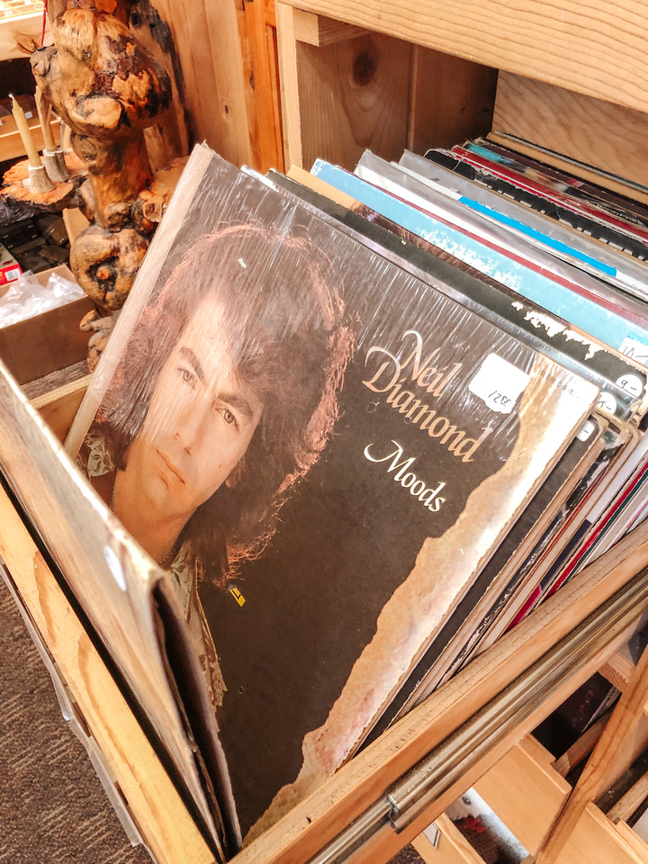 A Neil Diamond LP sits in a rack of records for sale at a rock shop in West Yellowstone, Montana, the gateway to Yellowstone National Park.