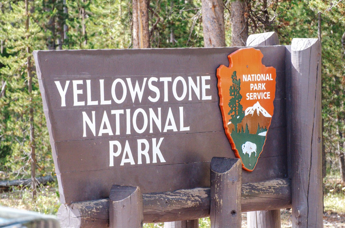 The large wooden entrance sign at the West Gate of Yellowstone National Park, Wyoming.  The National Park insignia in the shape of an arrowhead contains a painted image of a buffalo or American Bison, a large Ponderosa Pine tree, and a snow-capped peak.