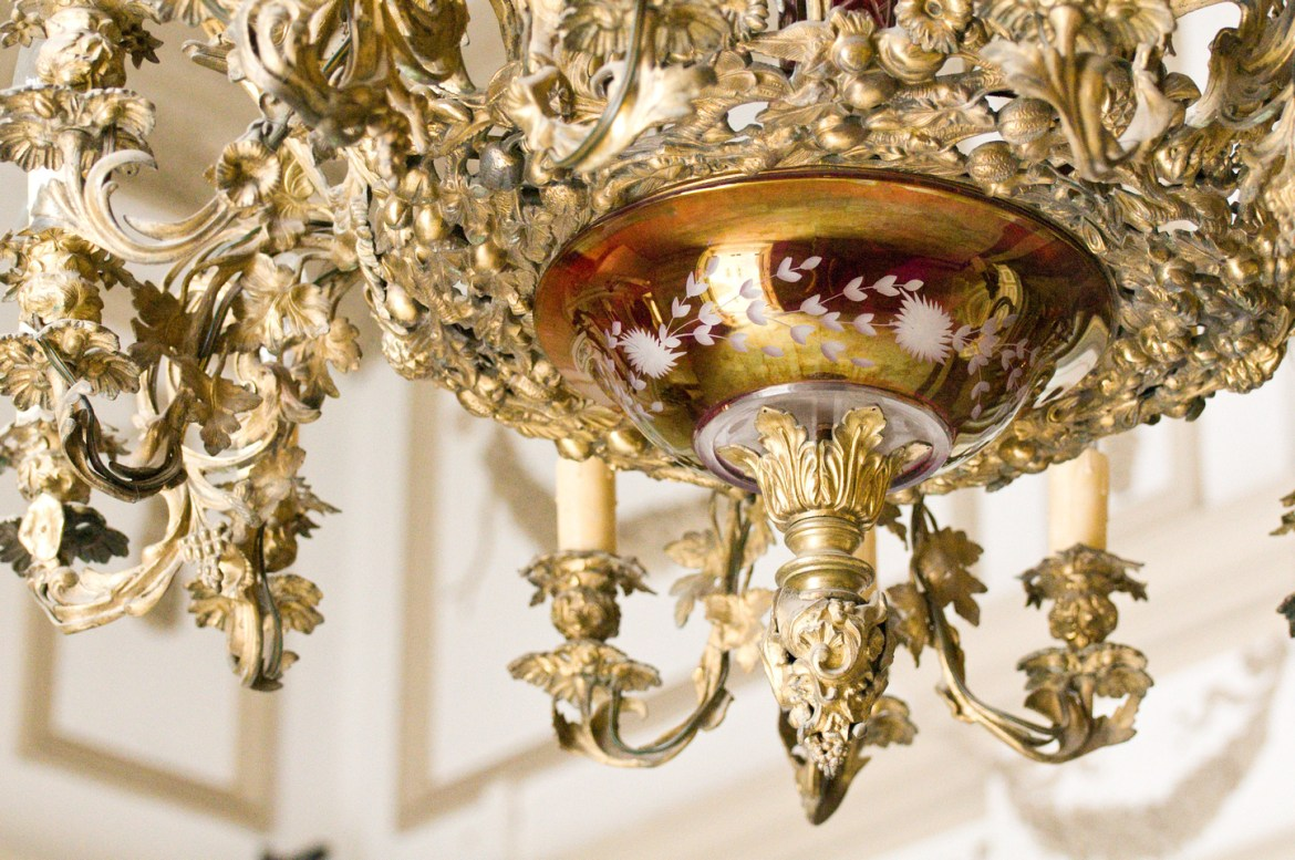 Beaux Arts and French Château Architecture Stock Photos. A chandelier inside Merida, Yucatan, Mexico's Palacio Canton, an exquisite example of Beaux Arts Architecture emulating mid-1800s French architectural design.