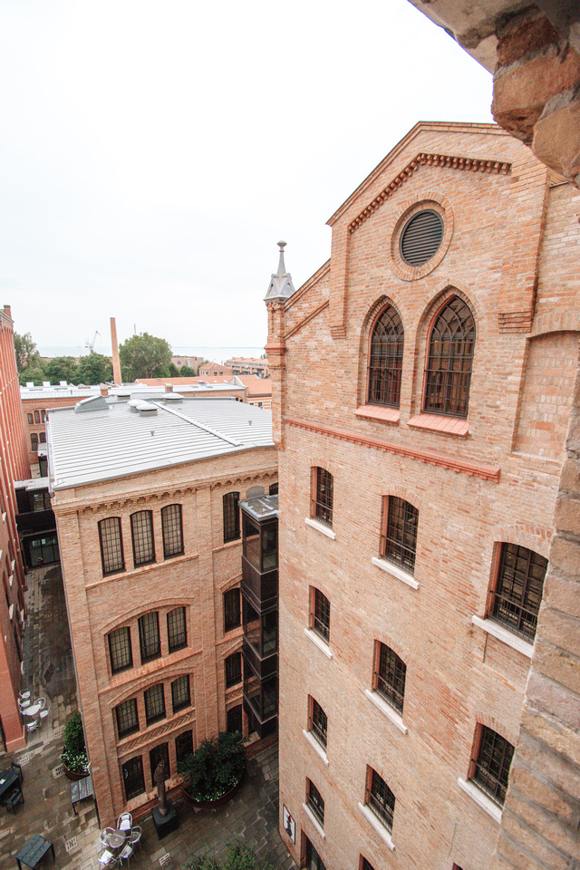 A view of the hotel's inner courtyard from a 5th floor guest room at the Hilton Hotel on the Island of Giudecca, Venice.