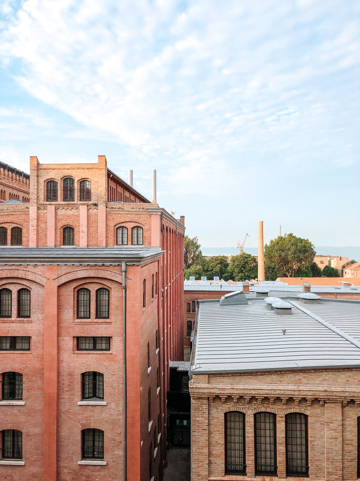 The Best Place to Stay in Venice, Italy - Hilton Molino Stucky - A view of the hotel's inner courtyard from a 5th floor guest room at the Hilton Hotel on the Island of Giudecca, Venice.
