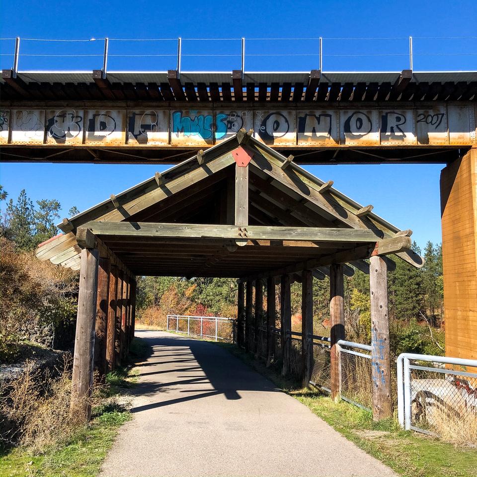 Run the Spokane River - Spokane Valley and the Centennial Trail - A view of train bridge near Sullivan Road and Indiana Avenue from the Centennial Trail near Spokane Valley, Washington.
