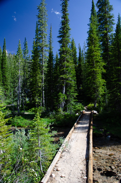 Best Baron Lakes Idaho Hikes - Grandjean Campground and Trailhead to Redfish Lake.  A developed bridge crosses a wide expanse of Baron Creek, just below Little Baron Lake.