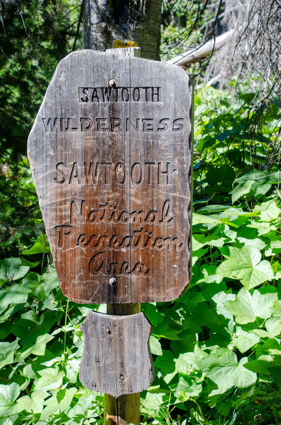 A Sawtooth Wilderness National Recreation Area Sign greets hikers and backpackers heading to Alpine Lake.