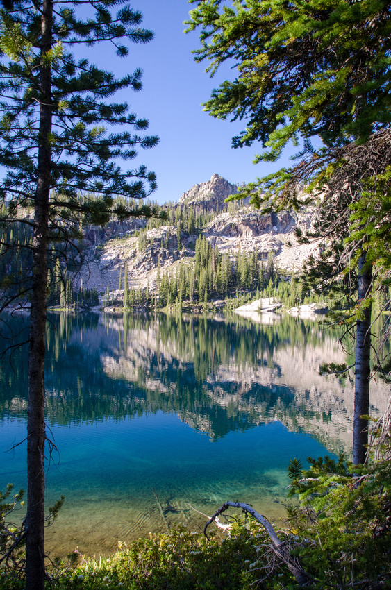 The peaks surrounding Alpine Lake in Idaho's Sawtooth Wilderness.