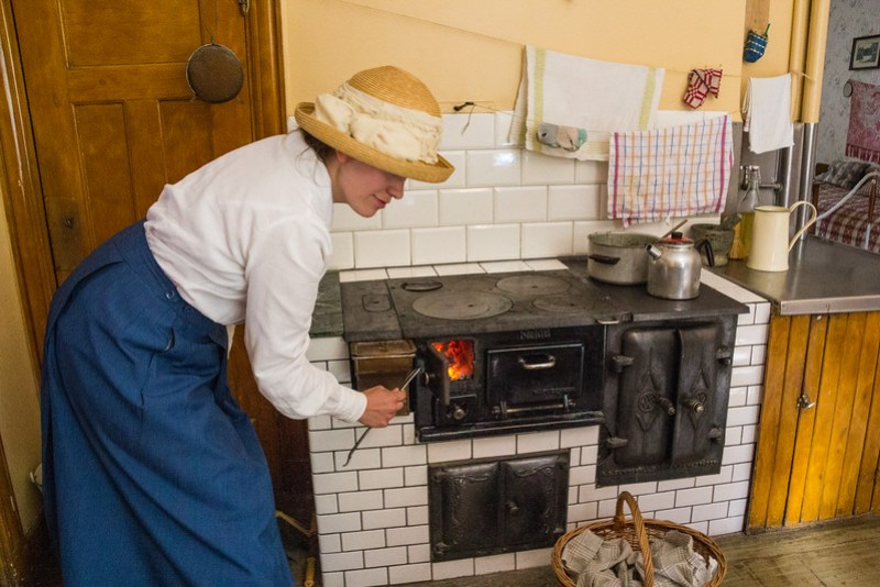 The Iron Stove Still in Use Today to Demonstrate Cooking Techniques from the 1920's, Gamla Linköping (©simon@myeclecticimages.com)