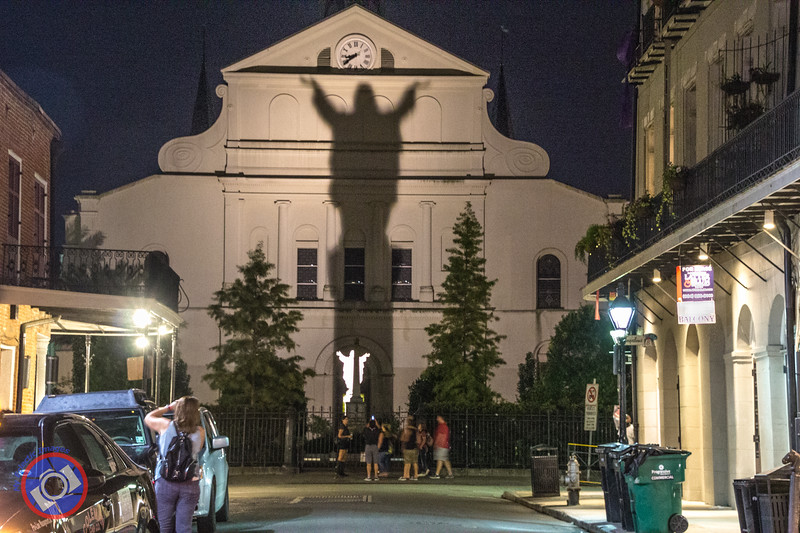 A Ghostly Shadow of a Statue Seen in the French Quarter (©simon@myeclecticimages.com)