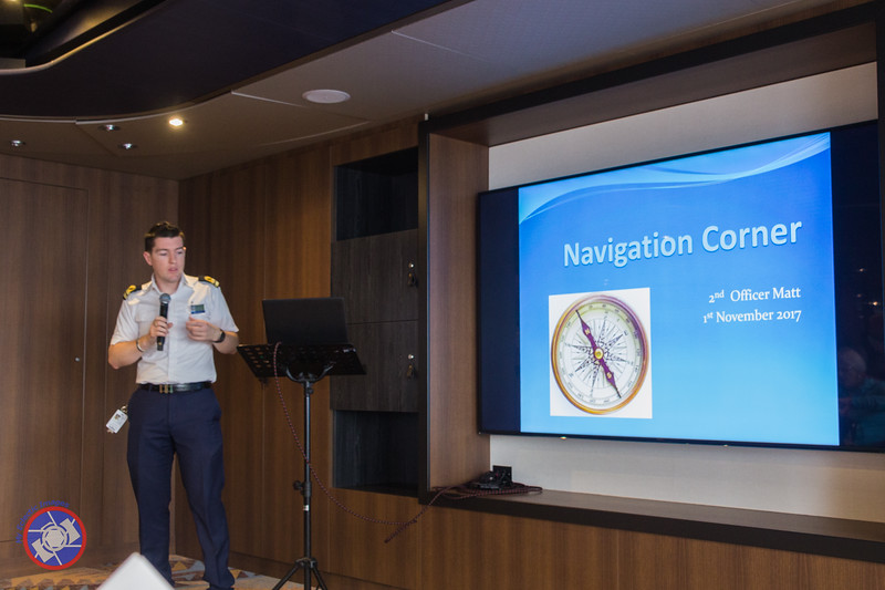 Second Officer Matt Presenting Some of the Basics Navigation Considerations on Board the Westerdam (©simon@myeclecticimages.com)
