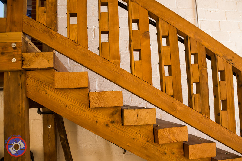 Stairway Constructed from Reclaimed Wood at the Millworks, Harrisburg, PA (© simon@MyEclecticImages.com