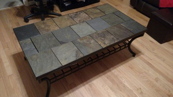 stone slate tile coffee table and one
