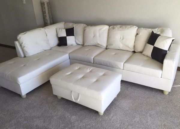 new white faux leather sectional sofa