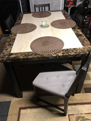 heavy marble dinning table w 4 ikea chair for sale in san jose ca