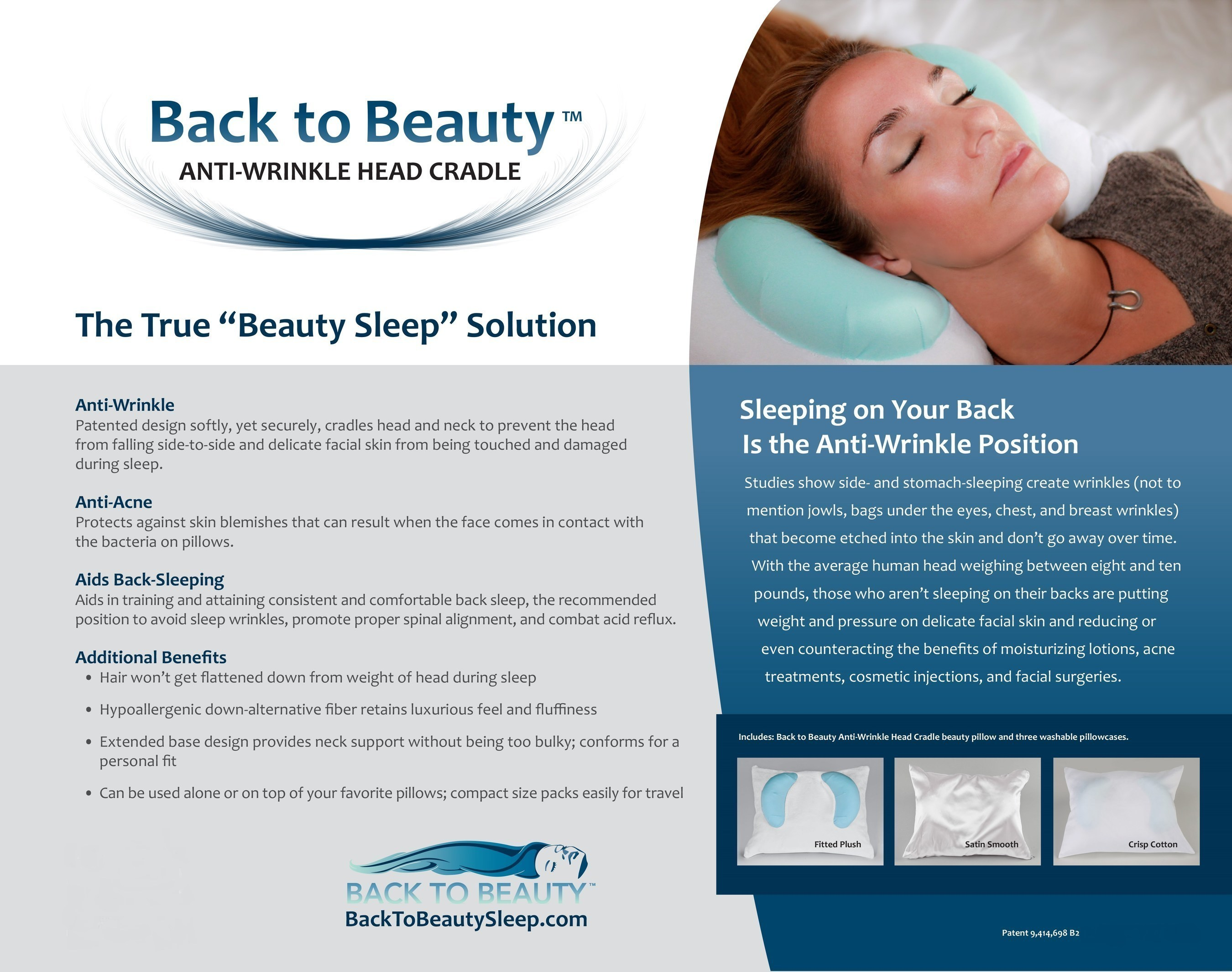 back to beauty anti wrinkle head cradle beauty pillow awarded patent
