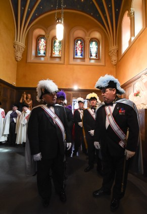 Francisco Kjolseth | The Salt Lake Tribune The Knights of Columbus gather for the procession at Cathedral of the Madeleine moments before theinstallation of Bishop Oscar A. Solis as the 10th bishop of the Diocese of Salt Lake City.