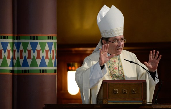 Francisco Kjolseth | The Salt Lake Tribune Archbishop Christophe Pierre, U.S. papal nuncio, reads the Apostolic Letter from Pope Francis, appointing Bishop Oscar A. Solis as the Bishop of Salt Lake City.