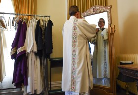 Francisco Kjolseth | The Salt Lake Tribune Deacon George Reade joins priests and bishops in the Glass Room for the vesting prior to the installation of Bishop Oscar A. Solis as the 10th bishop of the Diocese of Salt Lake City.