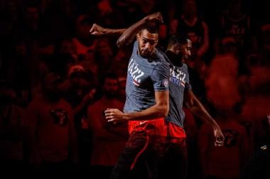 (Trent Nelson   The Salt Lake Tribune) Utah Jazz center Rudy Gobert (27) and Utah Jazz forward Derrick Favors (15) during player introductions in Salt Lake City on Nov. 9.