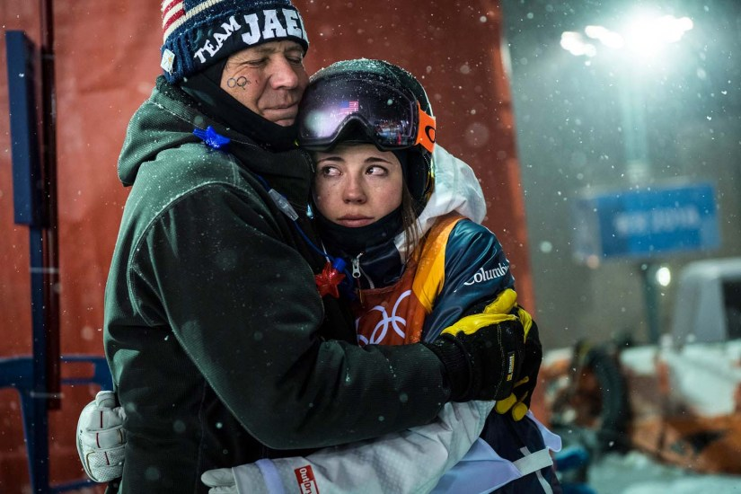 (Chris Detrick | The Salt Lake Tribune) Park City's Jaelin Kauf hugs her step-father Squeak Melehes after competing the Ladies' Moguls Final at Phoenix Park during the Pyeongchang 2018 Winter Olympics on Feb. 11.