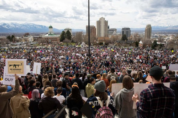 (Chris Detrick | The Salt Lake Tribune) Participants at the March for Our Lives SLC rally at the Utah Capitol on March 24.