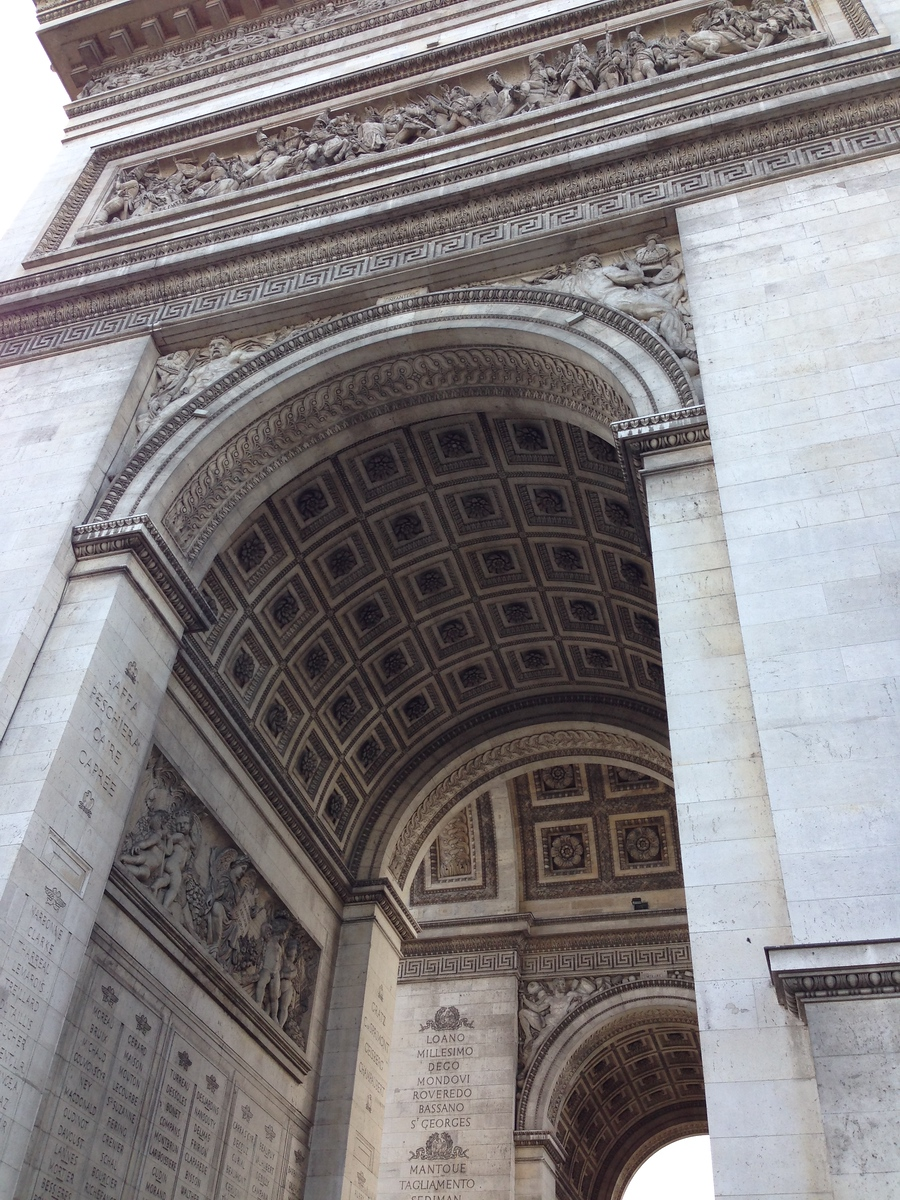 Side View of the Arc de Triomphe in Paris, France