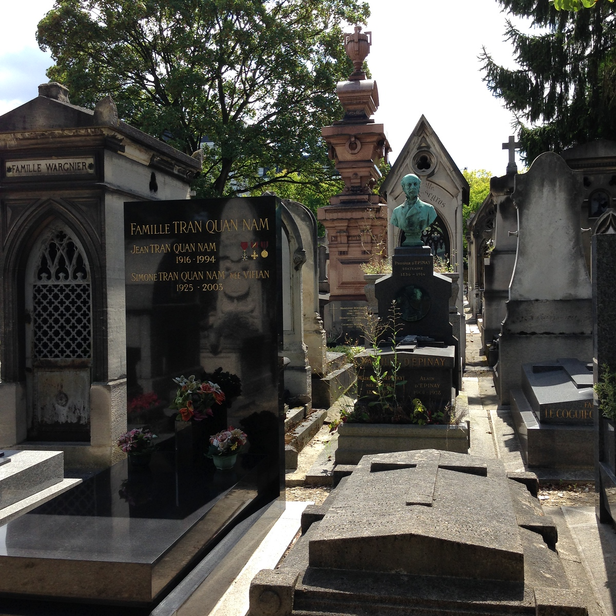 Ornate Tombstones and Family Plots in the Montparnasse Cemetary in Paris, France