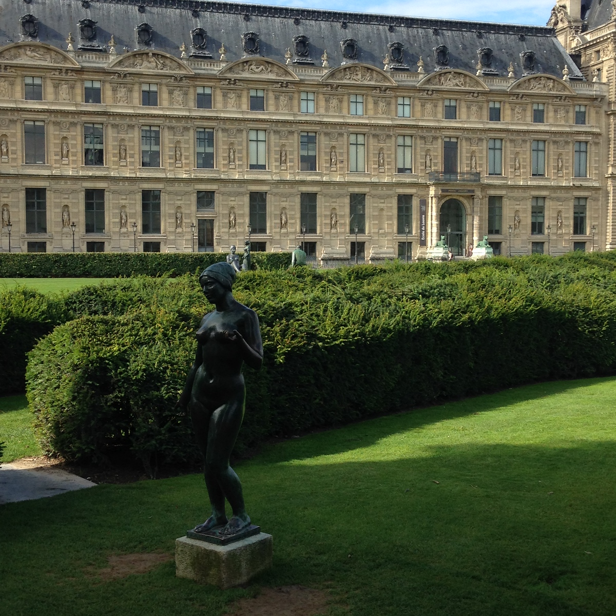A Statue in the Garden, With the Louvre in the Background