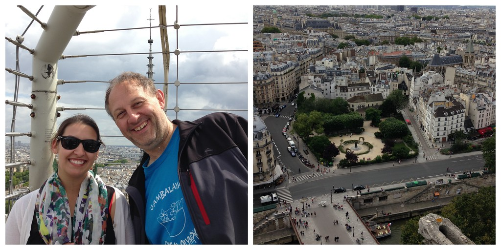 Dad and I on the Top of Notre Dame de Paris, and the View From the Top