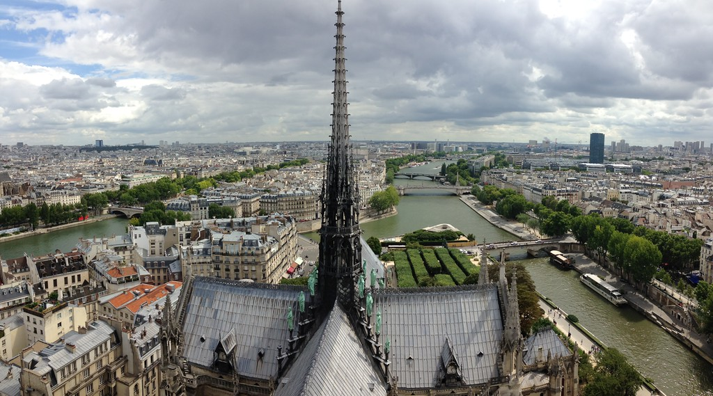 Cathedral Spire and the Seine River From the Top of Notre Dame de Paris