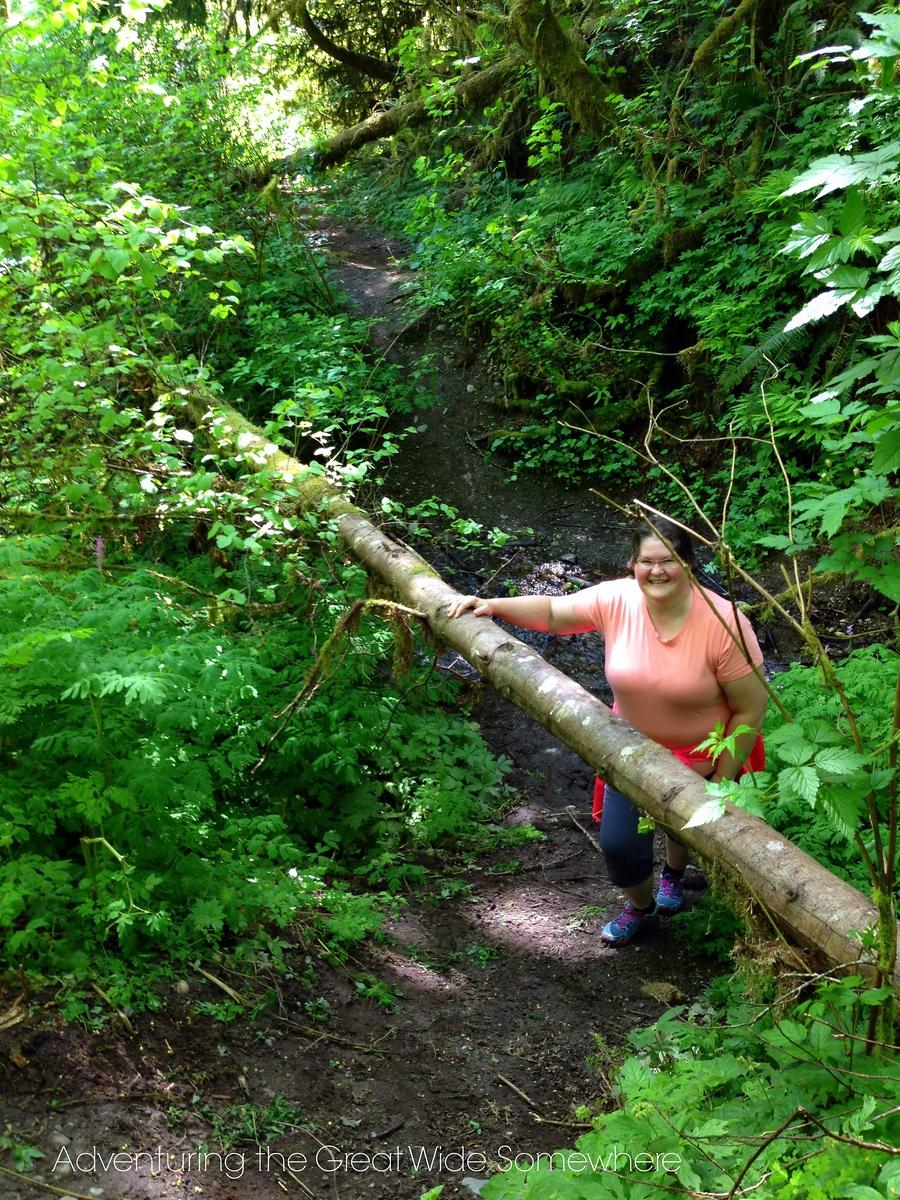 Mom on the Puget Loop Birding Trail at John MacDonald Memorial Campground