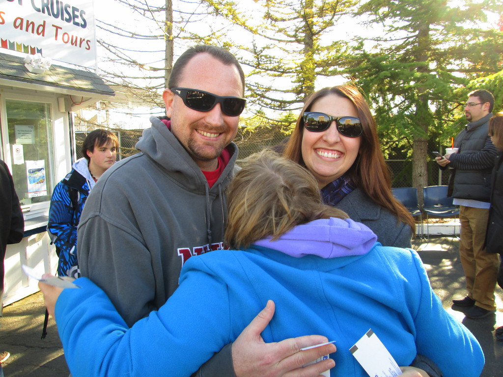 Dan and I Giving Rachel a Big Hug As We Wait to Board Our Argosy Cruise Around Lake Washington and Lake Union