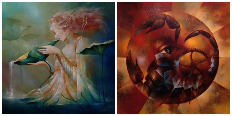 Two Paintings from the Zodiac Exhibit at le College Camille de Saint-Saens de Chaumont