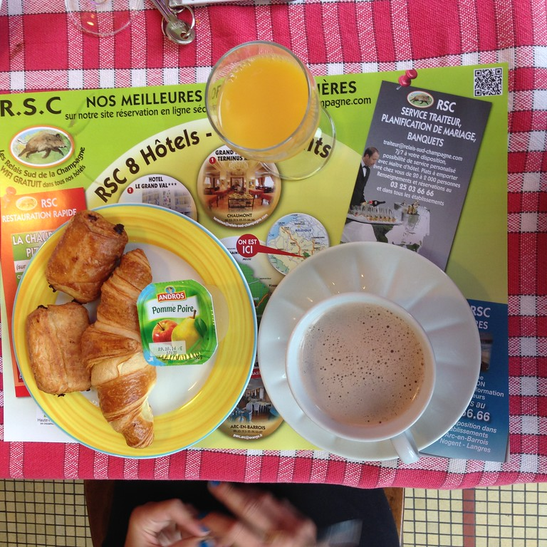 A Classic French Breakfast at Hotel le Grand Val in Chamarandes-Choignes, France