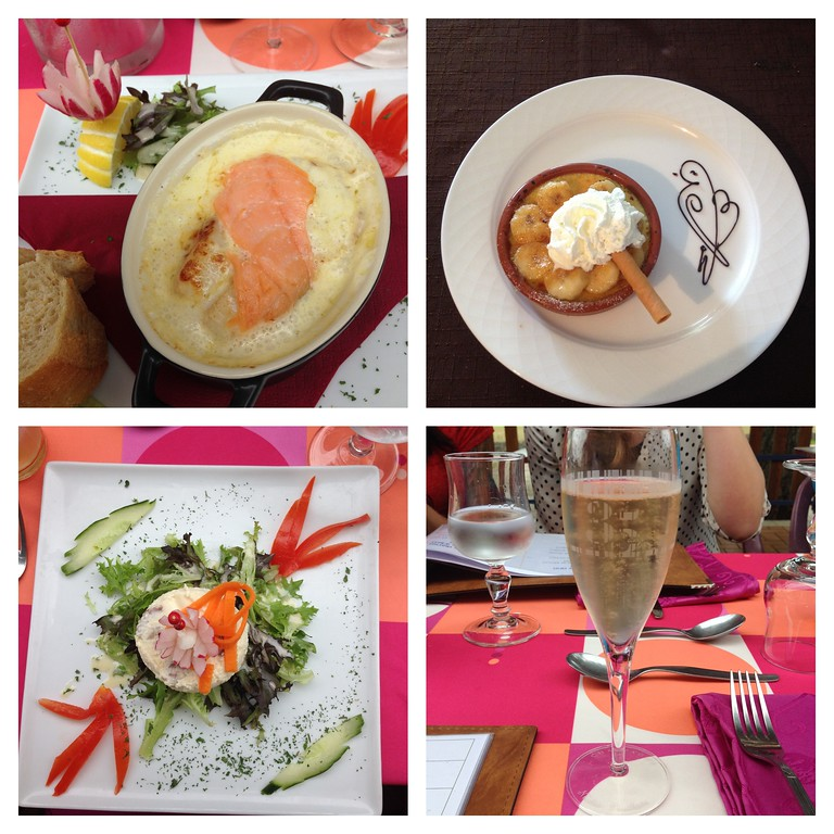Sampling of an Appetizer, Entree, Dessert and Champagne at Restaurant le Petit Charme in France