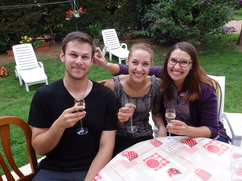 Jared, Jen and I Enjoying Some Champagne at my Grandparents' House in France