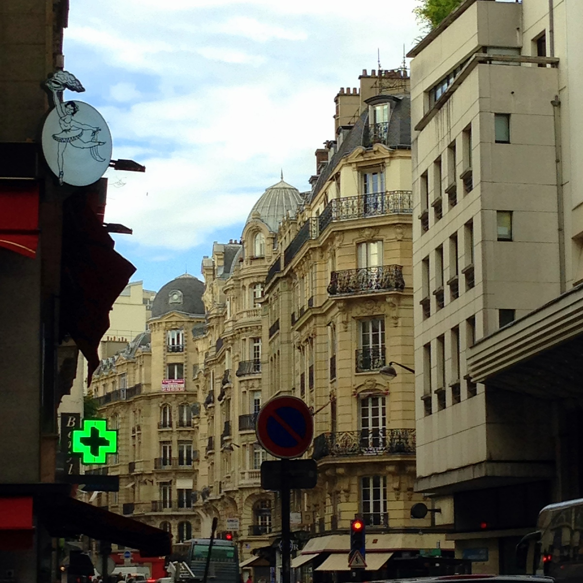 Beautiful Buildings and Street Signs From the Entrance to Our Hotel in the Ninth Arrondissement of Paris, France