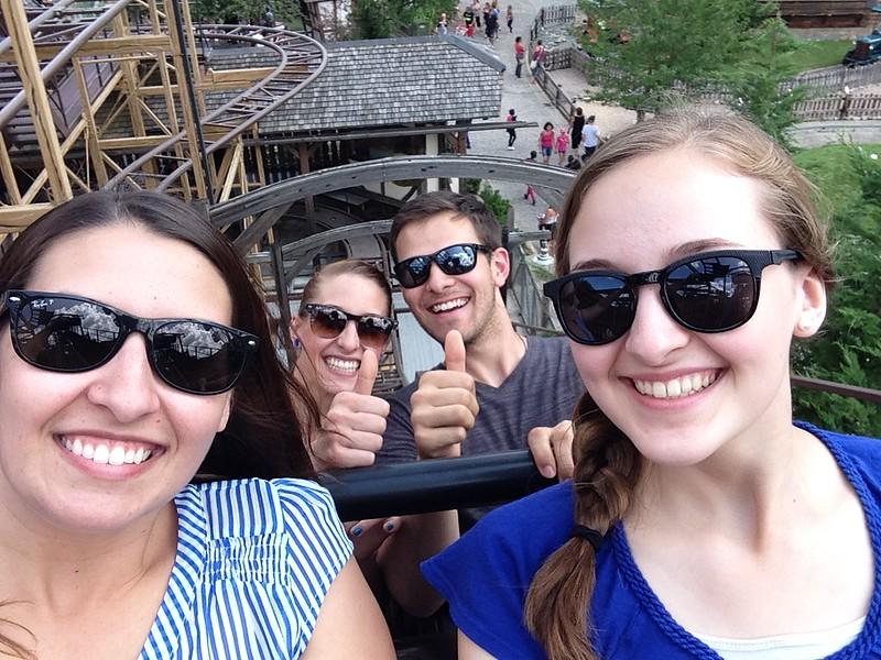 My Siblings and I on the Lift of Nigloland's Alpina Blitz Coaster