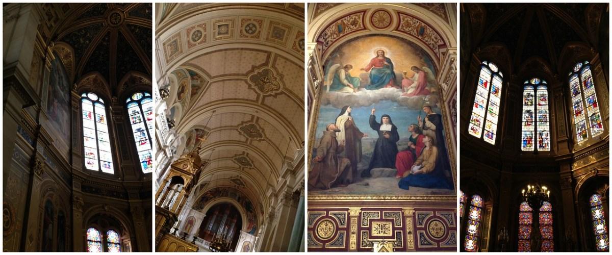 Architectural Details and Walls of Stained Glass Inside l'Église de la Sainte-Trinité in Paris, France