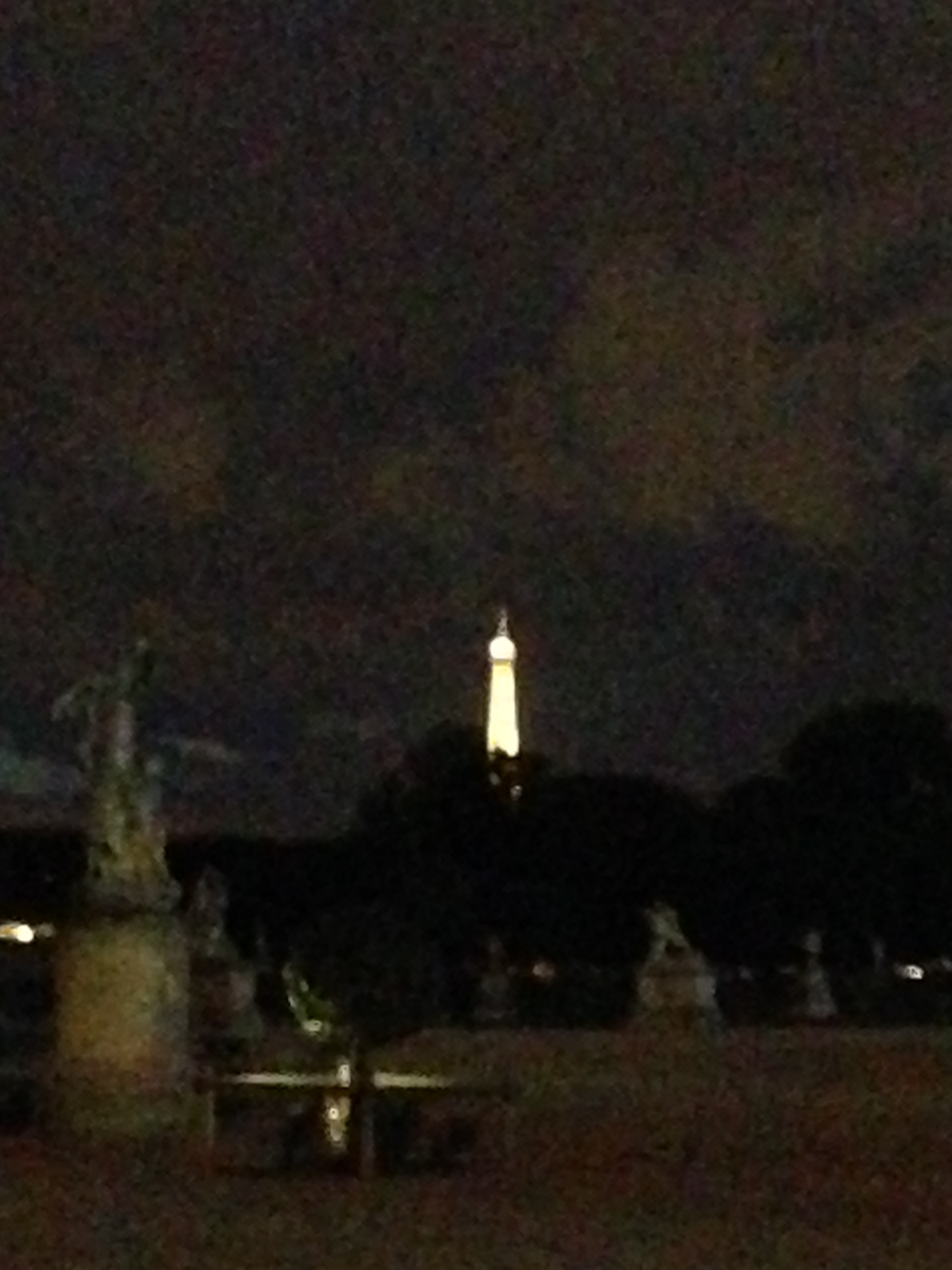 Our First Super Blurry Glimpse of the Eiffel Tower from the Jardins des Tuileries in Paris, France