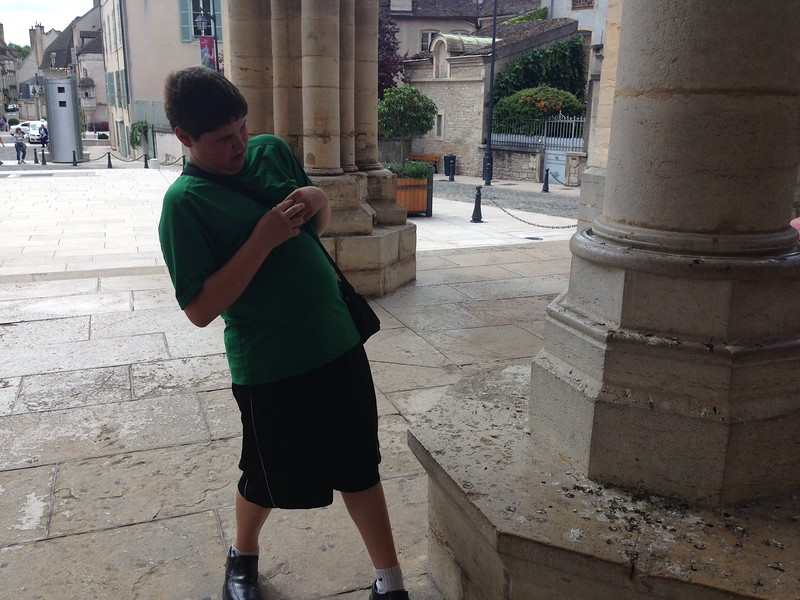 Chris Gazing in Horror at the Bird Poop All Over the Basilica Notre Dame de Beaune in France