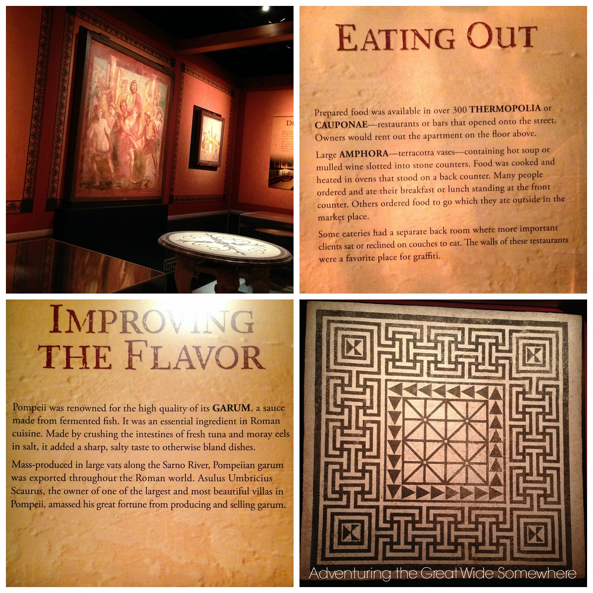 Informational Signs on Eating Out and Improving the Flavor at the Pompeii Exhibit in Seattle