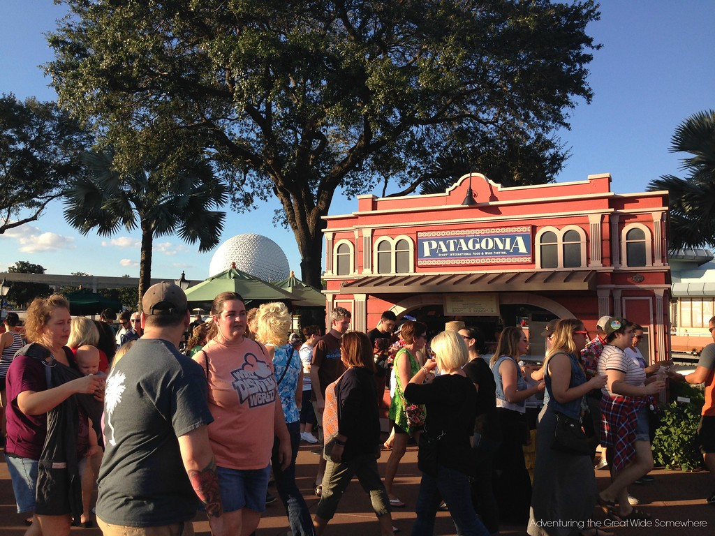 Crowds at the Patagonia Outdoor Kitchen at the 2015 Epcot International Food and Wine Festival at Walt Disney World