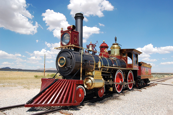 A replica train at the Golden Spike National Historic Site, by FreeFoto