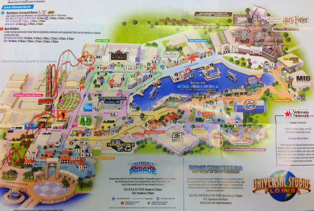 November 2015 Universal Studios Florida Park Map