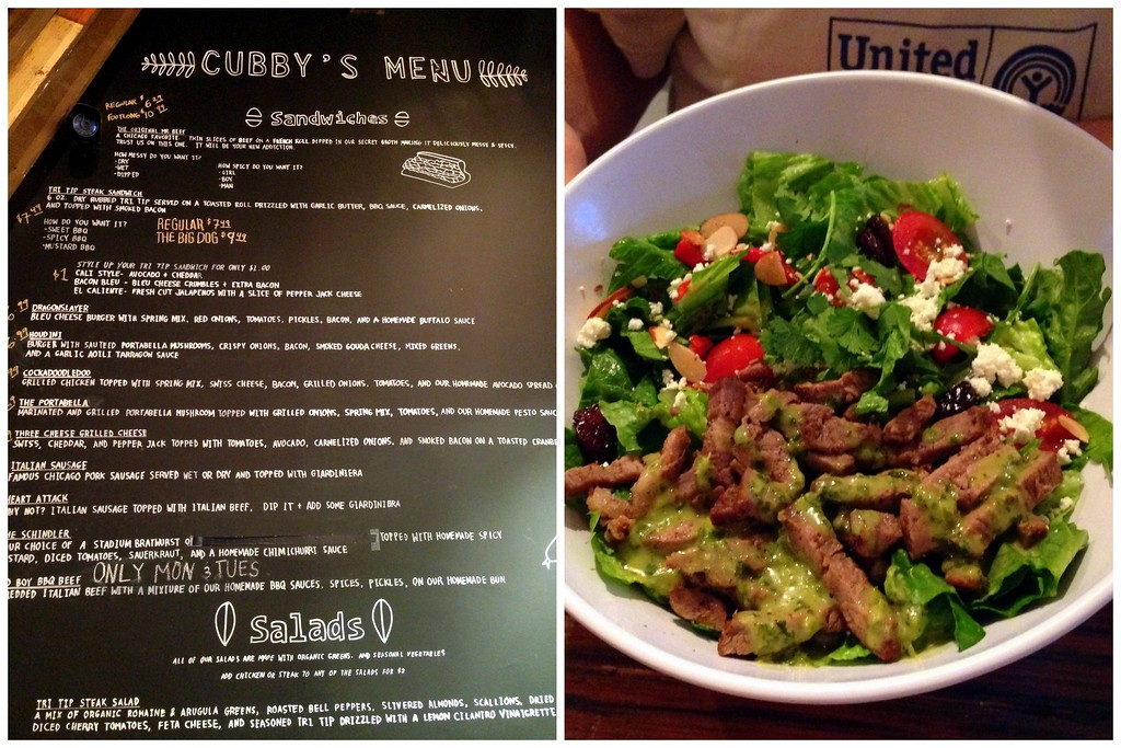 Menu and Tri Tip Steak Salad at Cubby's Chicago Beef in Provo, Utah