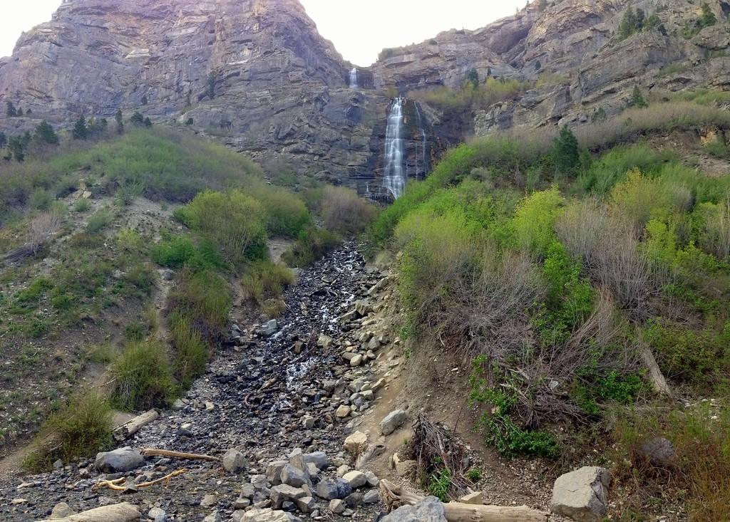 Looking Up at Bridal Veil Falls in Provo, Utah
