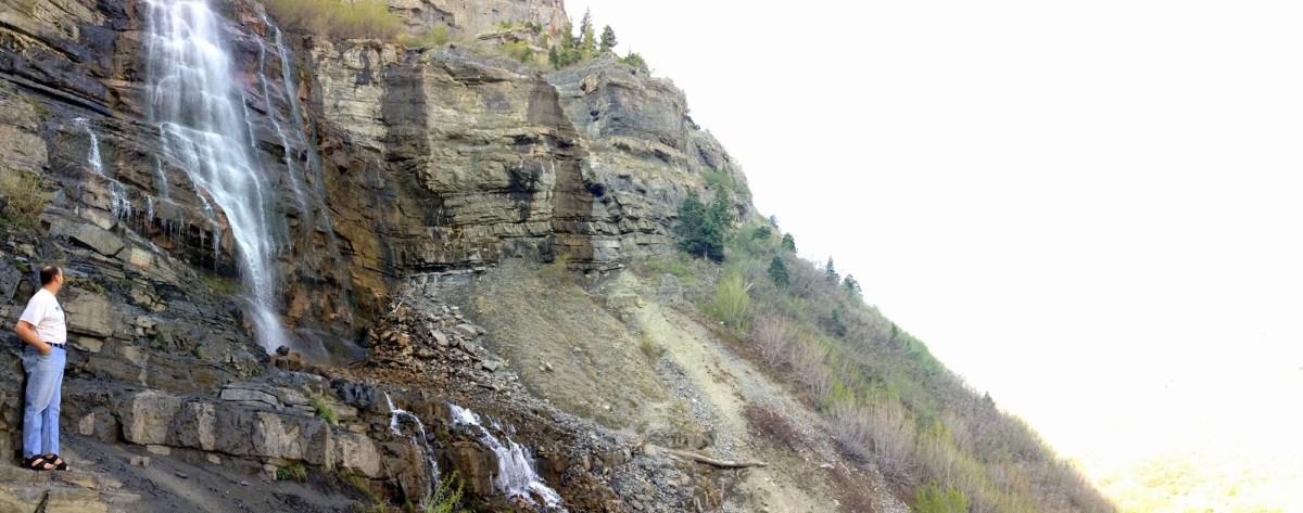 Dad Admiring Bridal Veil Falls in Provo, Utah