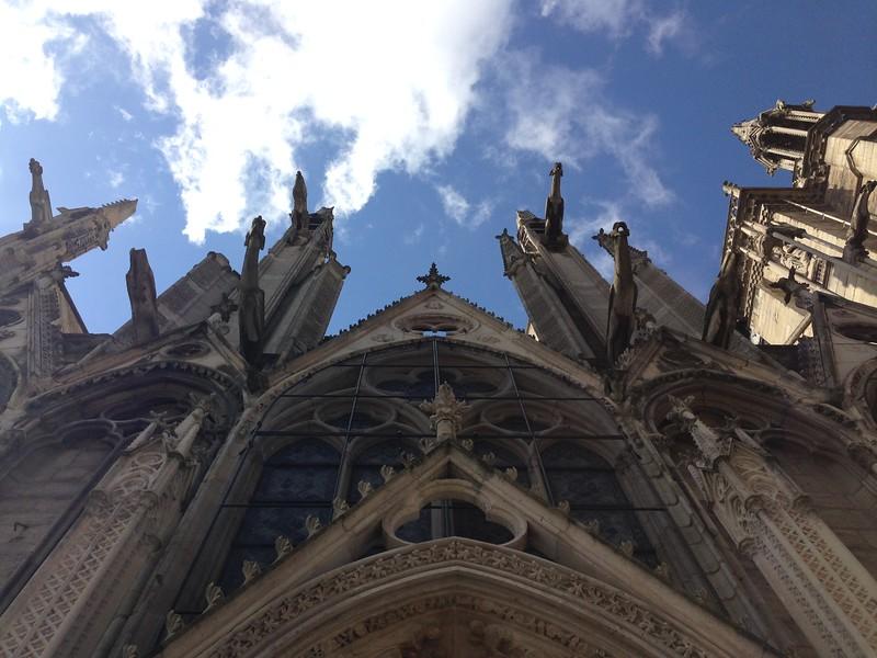 Looking Up at the Gargoyles of Notre Dame de Paris