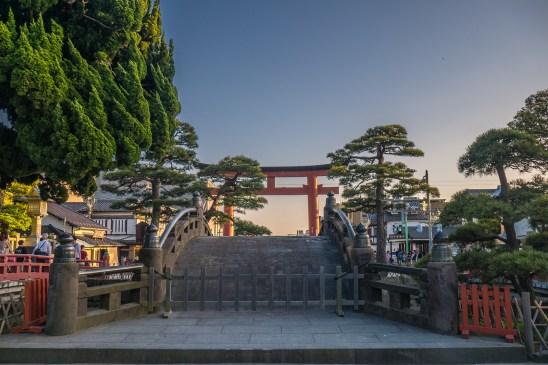 the torii gate at Tsurugaoka Hachiman-gū Temple