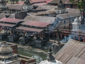 The burning ghats at Pashupatinath Temple in Kathmandu
