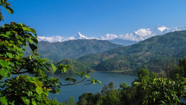 Views of the Himalayas from Begnas Lake, Nepal.